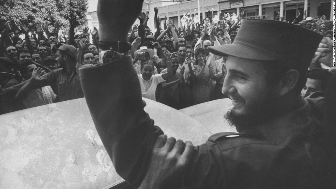 Castro is cheered by crowds on his victorious march to Havana.