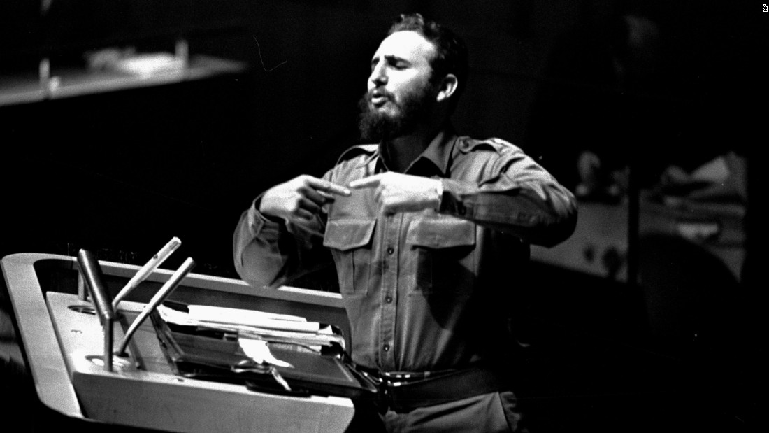 Castro addresses the U.N. General Assembly in September 1960.