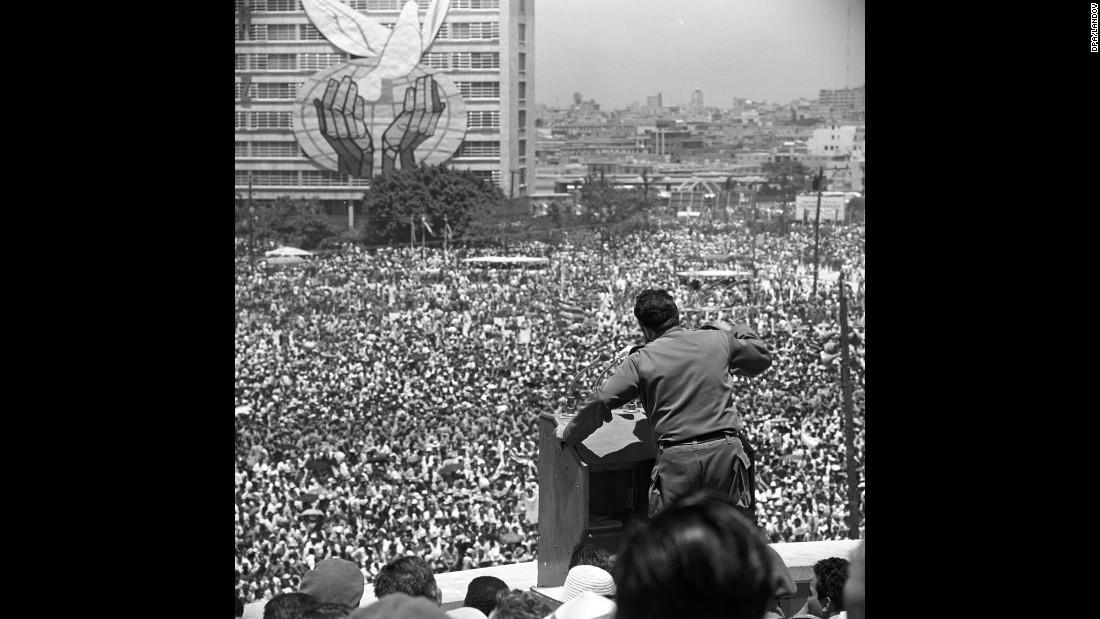 Castro speaks to thousands of Cubans in Havana  in 1968.