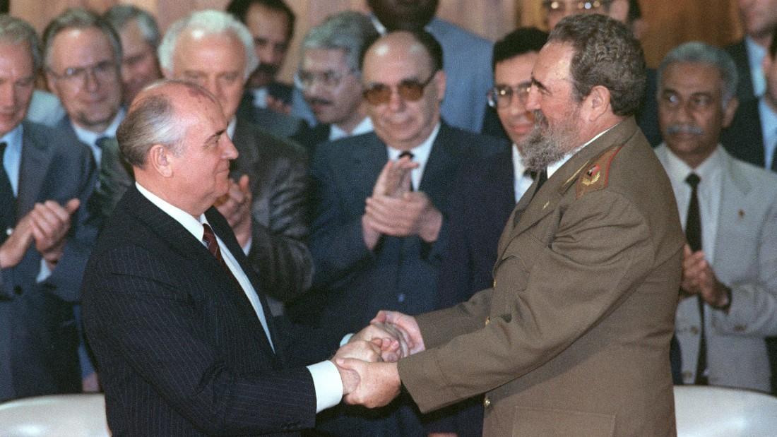 Castro shakes hands with Soviet leader Mikhail Gorbachev in Havana in April 1989.