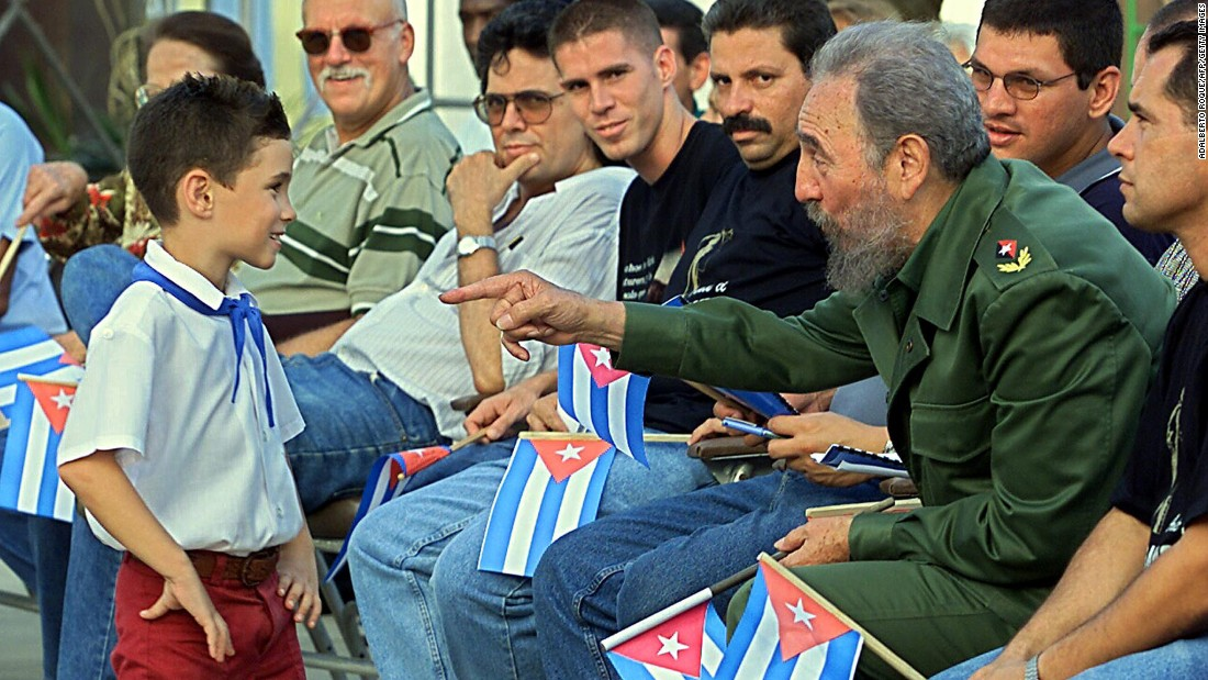 In July 2001, Castro talks with Elian Gonzalez, the young boy who was the focus of a bitter international custody dispute a couple of years earlier.