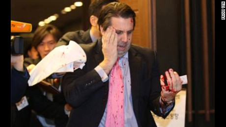U.S. ambassador to South Korea Mark Lippert was stabbed in the face at an event in Seoul on March 5, 2015.