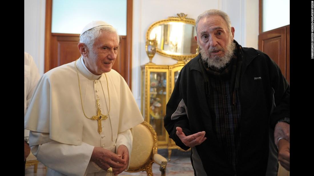 Pope Benedict XVI meets with Castro in Havana in March 2012.
