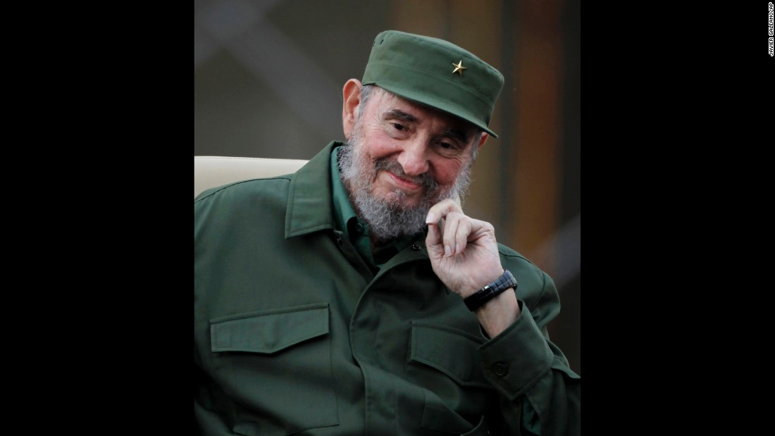 Castro smiles before delivering a speech in Havana in September 2010.