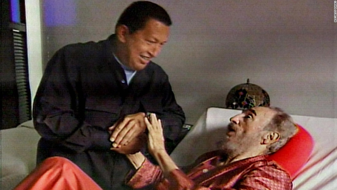 This TV grab from state-owned Cuban television shows Venezuelan President Hugo Chavez paying a visit to an ailing Castro in September 2006. In July of that year, it was announced that Castro was undergoing intestinal surgery. Because of his health, Castro resigned as President in February 2008.