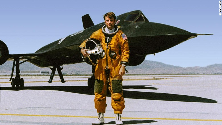 Reconnaissance Systems Officer George Morgan stands in front of a Cold War-era U.S. Air Force SR-71 spy plane in an undated photo.