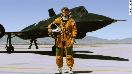 George Morgan stands in front of a Cold War-era U.S. Air Force SR-71 spy plane in an undated photo.