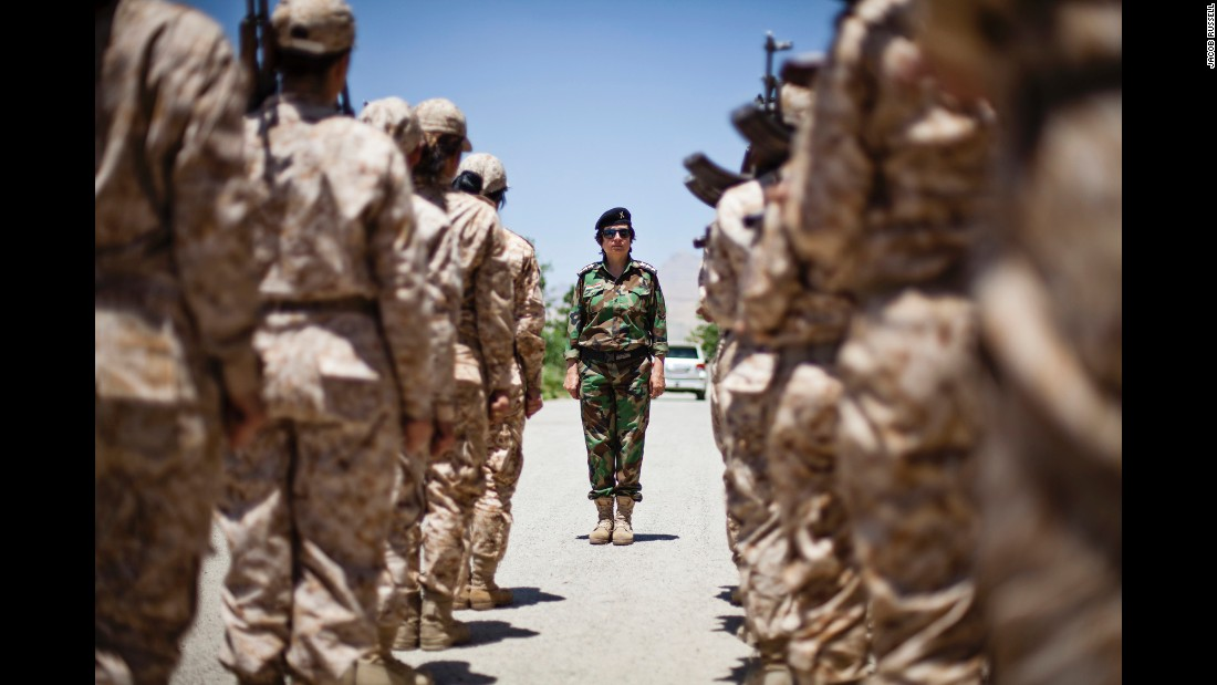 Female Peshmerga at their base.