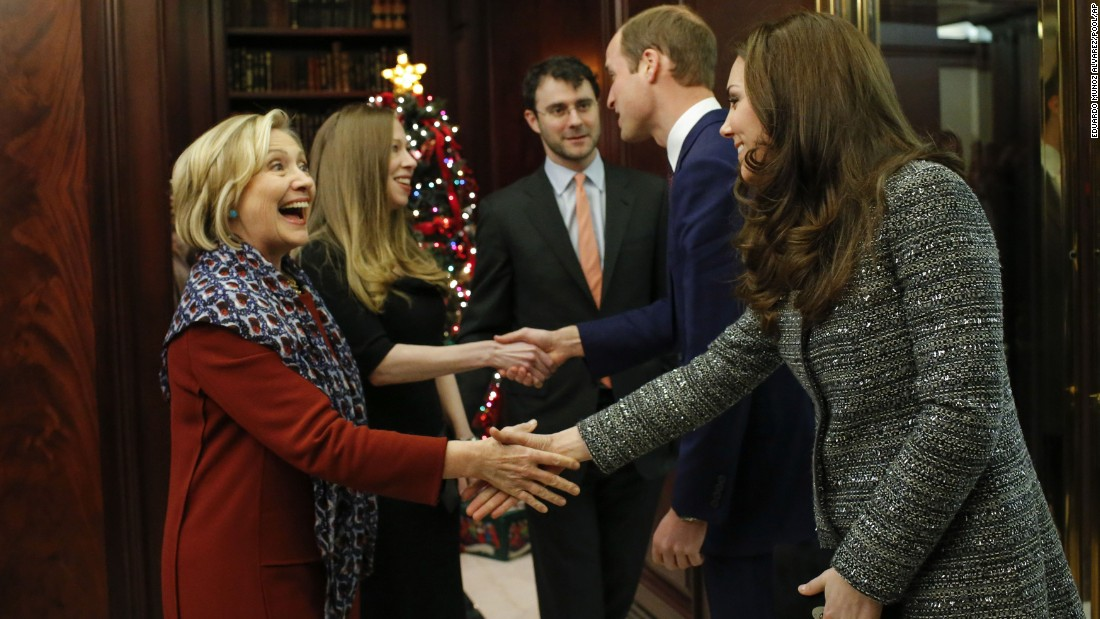 Clinton shakes hands with Catherine, the Duchess of Cambridge, while attending a reception with Prince William, second from right, in New York in December.