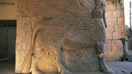 Relief of a human-headed winged lion in Ashurnasirpal II's palace in Nimrud in northern Iraq.
