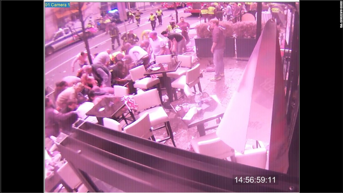 This image is from a surveillance camera outside of the Forum restaurant in Boston's Copley Square in the immediate aftermath of the bombing.