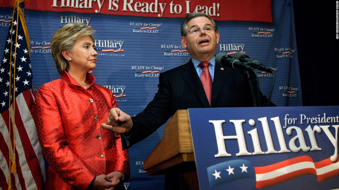 Sen. Robert Menendez announces his endorsement of Hillary Clinton for president in 2007.