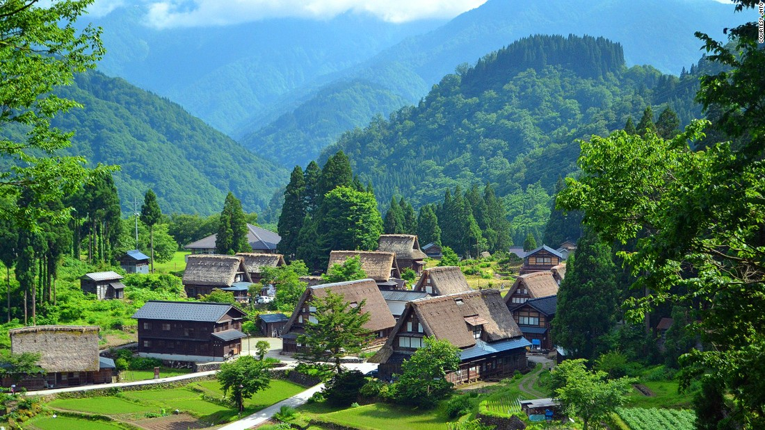 "Gokayama is one of the <a href=""http://edition.cnn.com/2014/09/07/travel/great-towns-architecture/"">greatest towns for architecture buffs in the world</a>.<br />The oldest traditional <em>gassho </em>style house in Ainokura is said to be about 400 years old. <br />Part of the UNESCO-designated area of Gokyama, the village preserves an architectural design that dates back hundreds of years.<br />The steep triangular thatched roofs were built without the use of nails and are designed to prevent snow buildup. <br /><em><a href=""http://www.g-ainokura.com/"" target=""_blank"">Ainokura</em></a><em>, Taira, Gokayama, Toyama, Japan; +81 763 66 2123 (website in Japanese only)</em>"