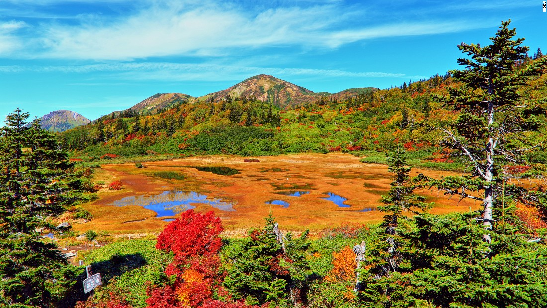 "Fall at Mt. Hiuchi brings out spectacular colors on Koya Pond.<br />The shallow and marshy water covered with vegetation changes colors -- into red, orange, yellow and green -- like the forest around it.<br />On the edge of the pond, Kouyaike Hutte provides beds and kitchen facilities if you need a rest on you hike up the 2,462-meter-tall mountain.<em><br /><a href=""http://www.myoko.tv/kouyaike/index.html"" target=""_blank"">Kouya Pond</em></a><em>, Mt. Hiuchi, Niigata, Japan; +81 255 86 3911</em>"