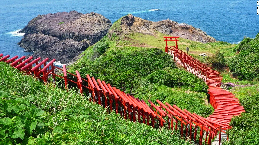 "The 123 Torii gates stretches from the Motonosumi-Inari Shrine to the cliff overlooking the ocean.<br />Motonosumi-Inari is a popular shrine where locals wish for success.<br />The final Torii's donation box is placed out of reach at the top of the gate. It's believed that if you can successfully toss money into the box, all your wishes will come true.<em><br /><a href=""http://www.nanavi.jp/page/detail.php?id=310"" target=""_blank"">Motonosumi-Onari Shrine</em></a><em>, 498 Yuyatsuo, Nagato, Yamaguchi, Japan; +81 837 23 1137</em>"