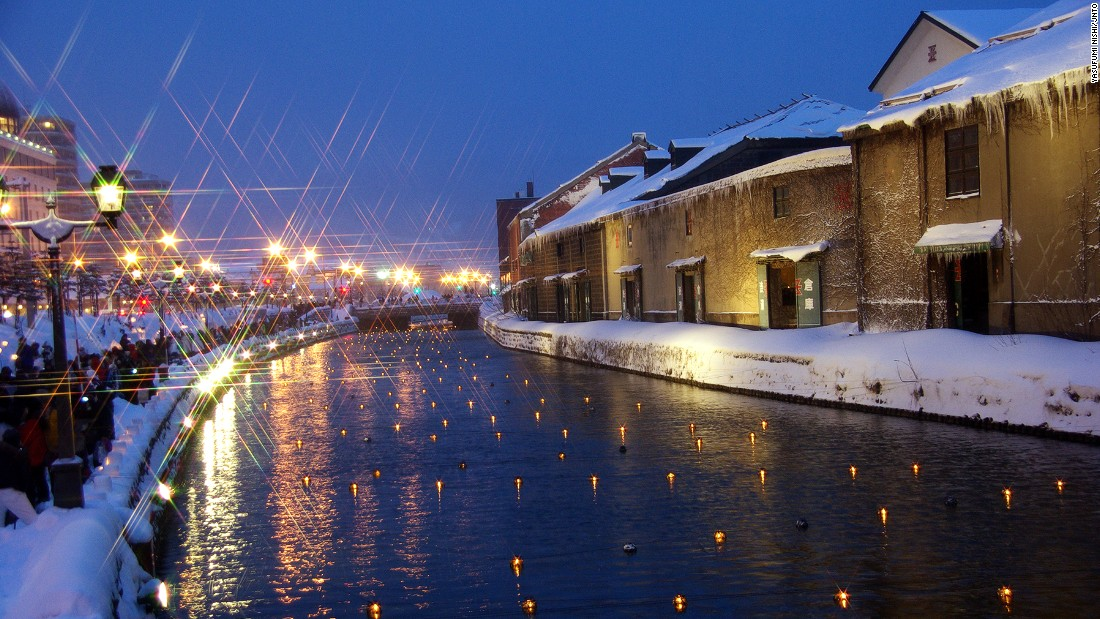 "Hundreds of buoyed candles float in Otaru Canal every February in Otaru, during the Snow Light Path Festival. <br />For 10 days, lanterns and snow statues for 10 days adorn the Hokkaido city. <br />Lined with restored warehouses and gas lamps, Unga Kaijo -- the area around the canal -- is the prime spot to enjoy the festival. <a href=""http://yukiakarinomichi.org/?page_id=2180"" target=""_blank""><em><br />Unga Kaijo<em></a></em>, Otaru, Hokaaido</em><em>, Japan</em><em>; +81 134 32 4111</em>"
