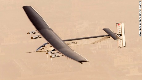 Solar-powered airplane Solar Impulse 2 takes flight as it begins its historic round-the-world journey from Al Bateen Airport, Abu Dhabi in the UAE, on March 09, 2015.
