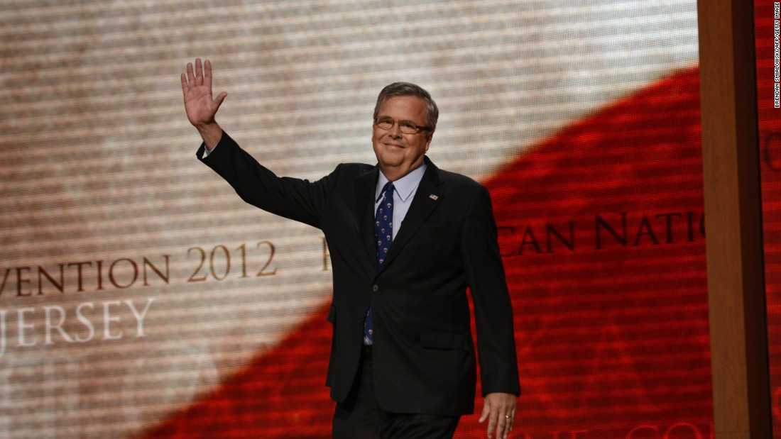 Bush waves to the audience at the Tampa Bay Times Forum in Tampa, Florida, on August 30, 2012, on the final day of the Republican National Convention.