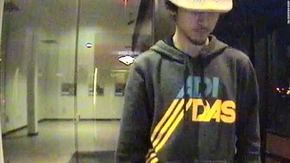 Prosecutors say this surveillance image shows Tsarnaev visiting an ATM hours before a police chase and chaotic shootout in which more than 200 rounds were fired.
