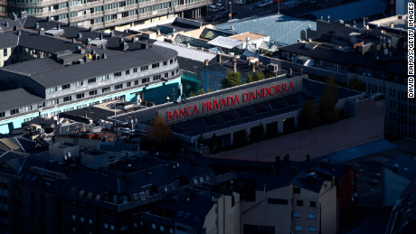 ANDORRA LA VELLA, ANDORRA - OCTOBER 31: A logo sits on display on the roof of the headquarter of Banca Privada of Andorra Bank on October 31, 2014 in Andorra la Vella, Andorra. Andorra is a tax haven status although it is in the process of reforming its tax regime. Several politicians and businessmen associated with recent cases of political corruption in Spain are being investigated for having accounts in tax havens such as Switzerland, Liechtenstein or Andorra. (Photo by David Ramos/Getty Images)