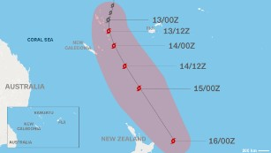 Cyclone Pam's projected path