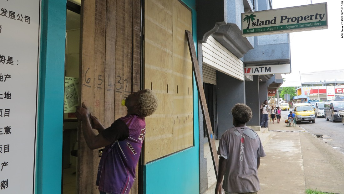 Shops are boarded up in Port Vila on Thursday, March 12.