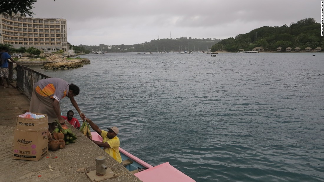 Preparations are made in Port Vila ahead of the storm on March 12.