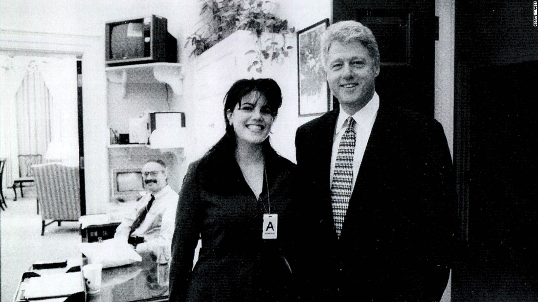 This image of White House intern Monica Lewinsky standing beside President Bill Clinton at a White House function on November 17, 1995 was used as evidence in Kenneth Starr's investigation into allegations of an inappropriate relationship between the intern and Clinton.