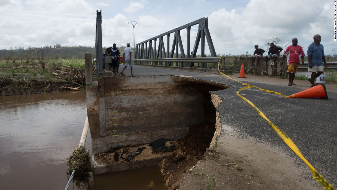 A bridge and road that suffered dramatic damage from Cyclone Pam are seen outside Port Vila, the capital of Vanuatu, on Sunday, March 15.