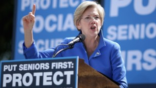 Sen. Elizabeth Warren addresses a rally in support of Social Security and Medicare on Capitol Hill on September 18, 2014, in Washington, D.C.