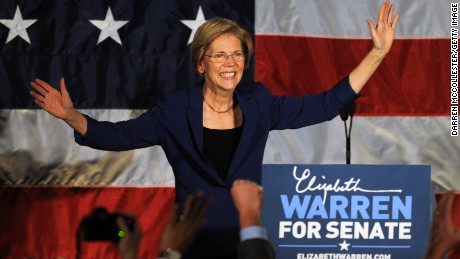 Warren takes the stage for her acceptance speech after beating the incumbent Senator, Scott Brown, on November 6, 2012 in Boston, Massachusetts.
