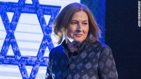Former Israeli justice minister and HaTnuah party leader Tzipi Livni arrives to deliver a speech during an election campaign meeting in Tel Aviv, on January 25, 2015 ahead of the March 17 general elections. AFP PHOTO / JACK GUEZ