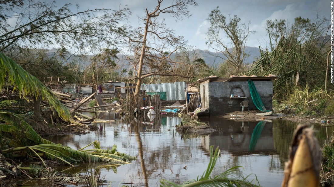 Debris from the cyclone is scattered in an area near Port Vila on March 16.