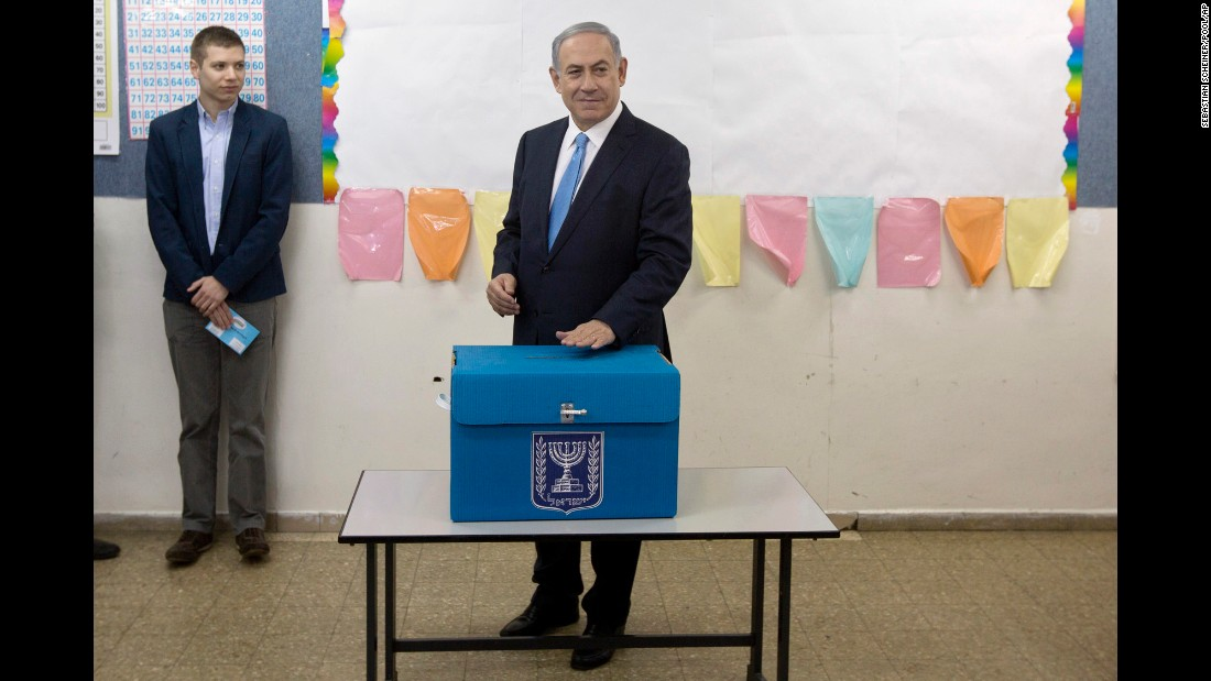 Netanyahu casts his vote in Jerusalem on March 17.