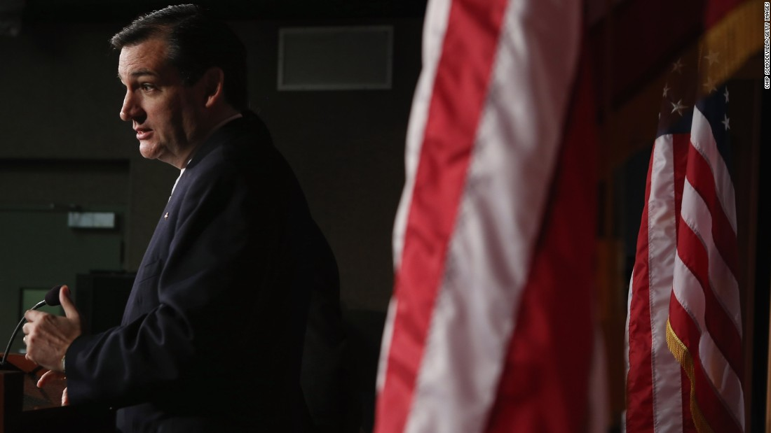 Cruz holds a news conference to announce the plan to defund Obamacare on March 13, 2013.