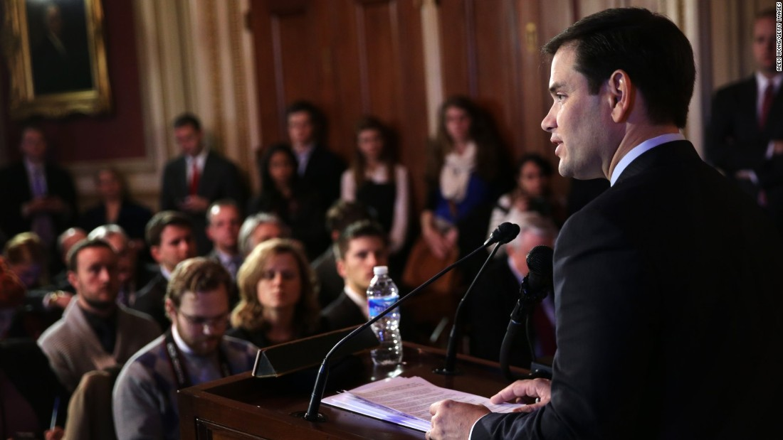 Rubio addresses an event held by the American Enterprise Institute for Public Policy Research in January 2014.