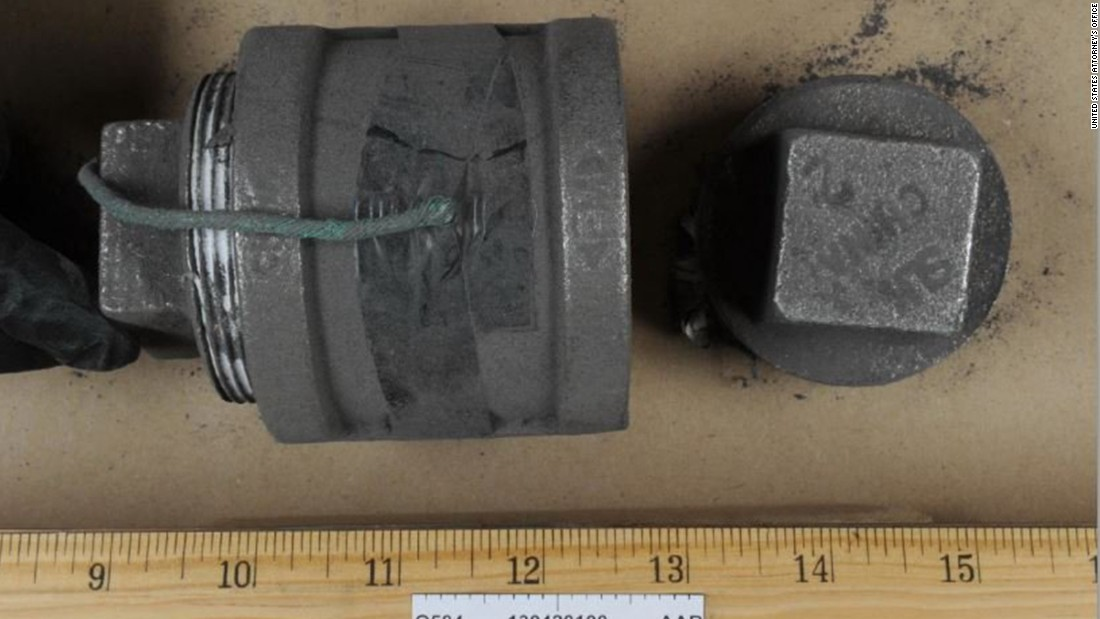 This unexploded pipe bomb was found at the scene of the shootout between police and the Tsarnaev brothers in Watertown.