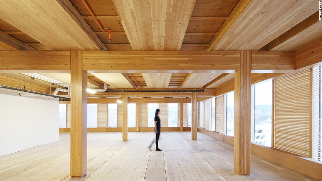 The building is a hub for wooden design education and research.