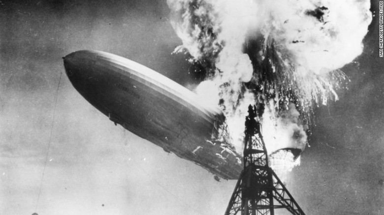 The Hindenburg disaster at Lakehurst, New Jersey, in 1937, marked the end of the era of passenger-carrying airships.