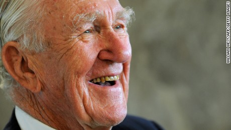 Former Australian prime minister Malcolm Fraser laughs during the launch of his first political memoirs at the University of Melbourne's Law School on March 4, 2010. Fraser, who was Australia's 22nd prime minister, holding the position from 1975 to 1983, was the first Australian politician to describe Australia's future as multicultural, and his federal government was the first to pass Aboriginal Land Rights and Freedom of Information legislation. AFP PHOTO/William WEST (Photo credit should read WILLIAM WEST/AFP/Getty Images)