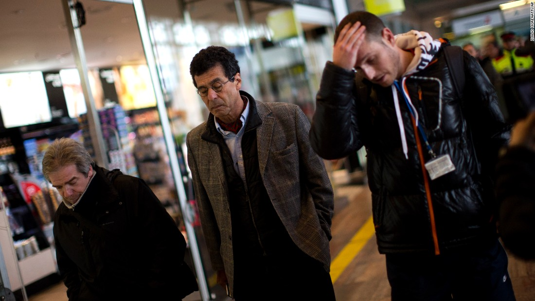 Relatives of people involved in the crash arrive at the Barcelona airport on March 24.