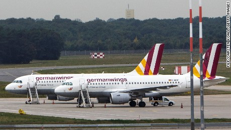 A general view of parked Germanwings planes during a nationwide 6-hour strike by Germanwings pilots at Tegel Airport that grounded 116 flights on August 29, 2014 in Berlin, Germany.