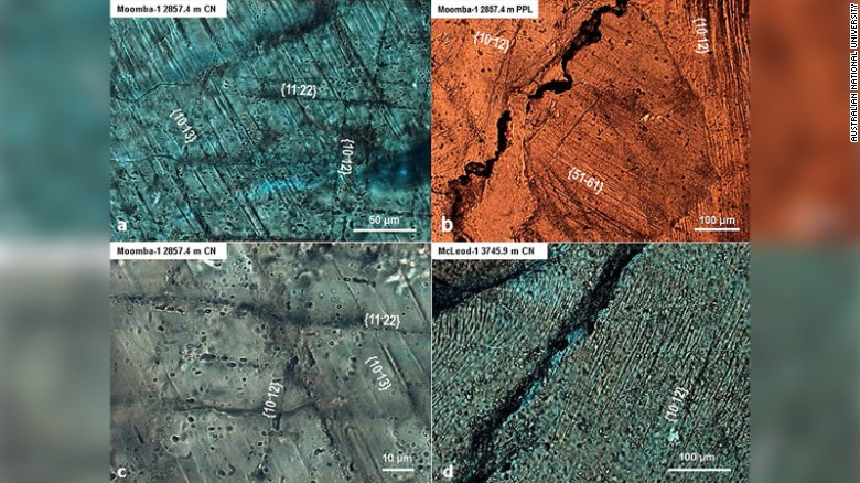 Imaging taken from rock along the border of South Australia and the Northern Territory shows evidence of a massive impact.