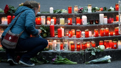 Students and well wishers gather in front of the Joseph-Koenig-Gymnasium secondary school in Haltern am See, Germany on March 24, 2015, from where some of the Germanwings plane crash victims came