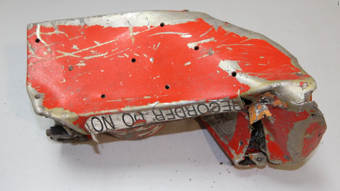 Another photo from the French air accident investigation bureau shows the bottom of the cockpit voice recorder. The device is designed to capture all sounds on a plane's flight deck.