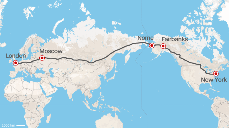 Route as roughly interpreted by CNN. The proposed plan for a massive trans-Siberian highway would link Russia's eastern border with the U.S. state of Alaska.