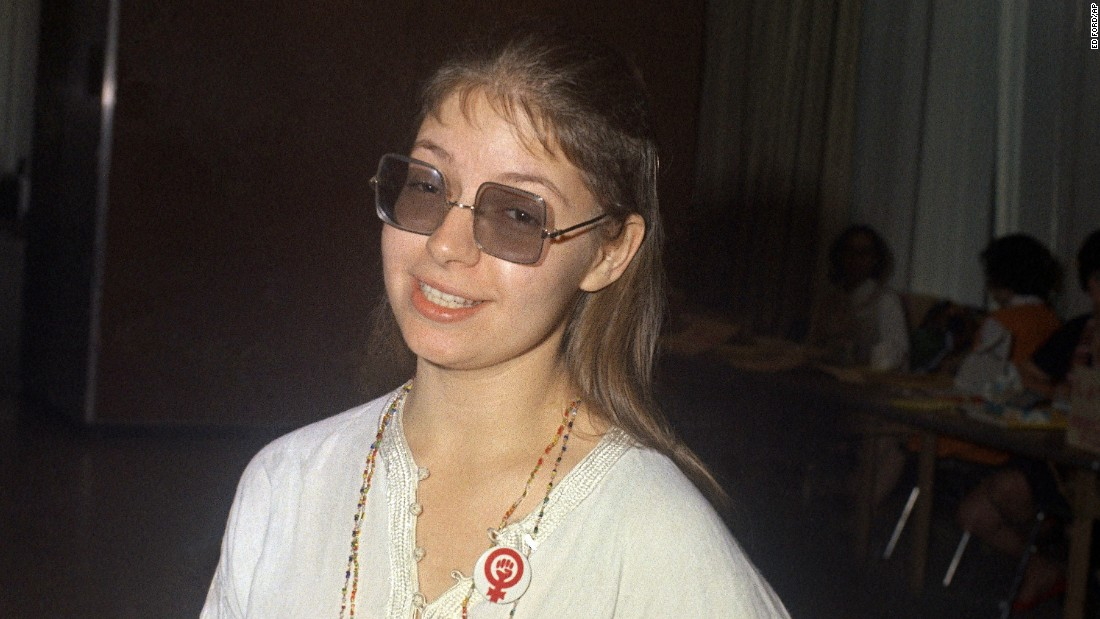 "Women's rights activist, poet and writer Robin Morgan -- seen here during a women's liberation conference in New York in 1970 -- was also among the crowd at the fundraiser and book launch at Manhattan's Yale Club. Morgan's 1970 anthology, ""Sisterhood Is Powerful,""  helped galvanize a movement."