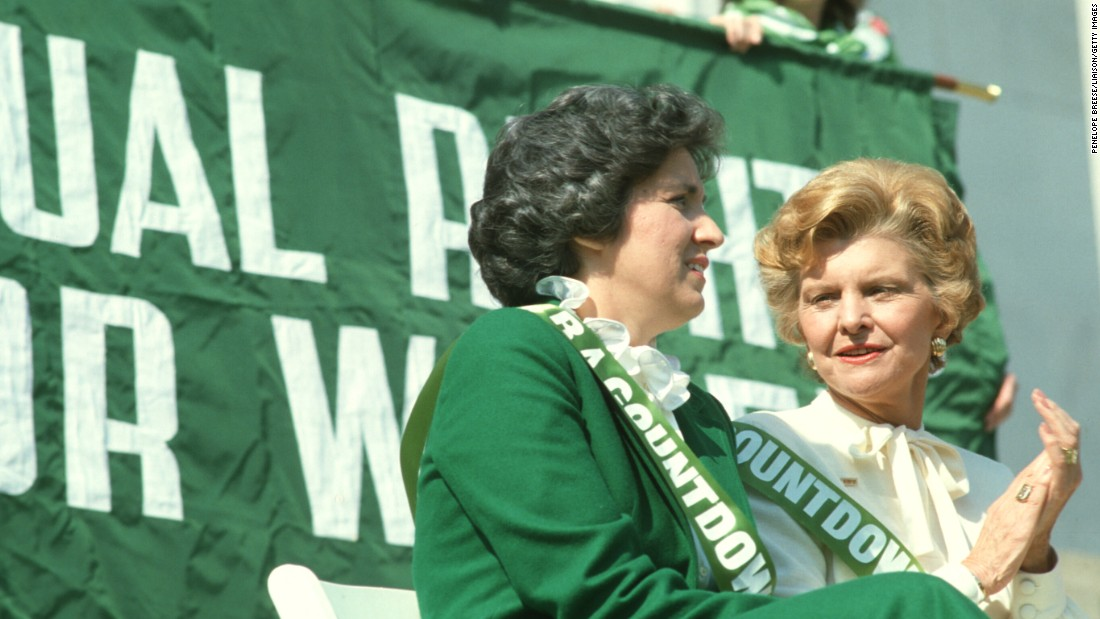 Eleanor Smeal, then-president of the National Organization for Women, left, and first lady Betty Ford attend an ERA rally on the steps of the Lincoln Memorial in 1981.