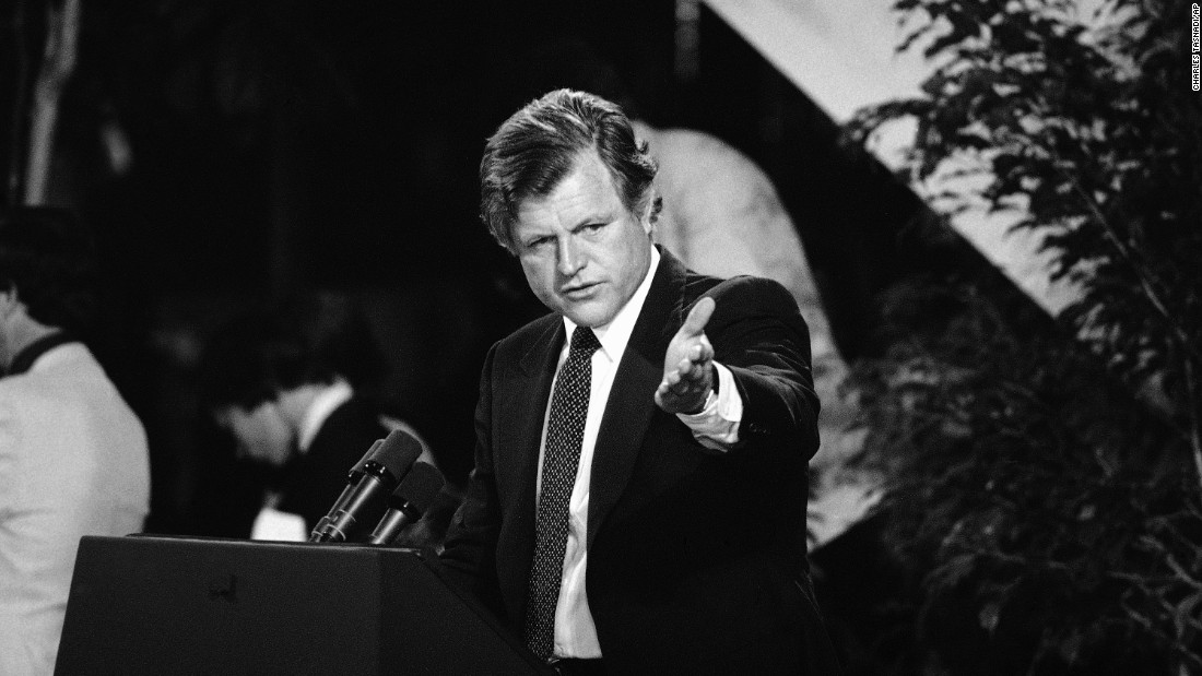 Democratic Sen. Ted Kennedy speaks at an ERA fundraising dinner in Washington in 1980. Kennedy spent more than three decades as a champion for the amendment in Congress.