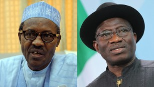 February's presidential election is delayed due to a fresh assault on Boko Haram, reducing the number of troops available to oversee polling stations. Opposition leader Muhammadu Buhari (L) -- himself an ex-military ruler between 1983-1985 -- accuses President Jonathan (R) of engineering the move to give himself time to augment his ratings. A new date is set for March 28.